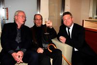 Harold Pinter, Michael Caine and Kenneth Branagh at the London premiere of the film