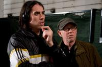 Director Brad Peyton and Steven Poster on the set of