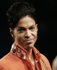 Prince at the press conference during the Super Bowl media center.
