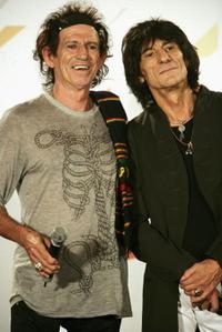 Keith Richards and Ron Wood at the press conference of