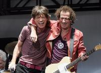 Mick Jagger and Keith Richards at the press conference to announce a world tour.