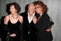 Claudia Cardinale and Sophia Loren with designer Giorgio Armani at the Giorgio Armani Prive Spring/Summer 2008 Haute Couture Collection Show.