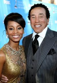 Anika Noni Rose and Smokey Robinson at the 38th annual NAACP Image Awards.