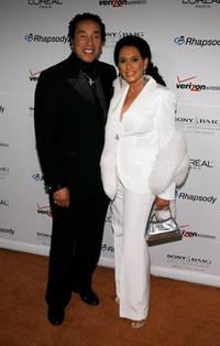 Smokey Robinson and Frances Glandney at the Clive Davis pre-Grammy party.
