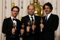 Director Ethan Coen, Scott Rudin and director Joel Coen at the 80th Annual Academy Awards.