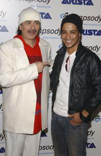 Carlos Santana and Mario Vasquez at the Santana's celebration launch party for his new CD