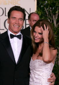 Arnold Schwarzenegger and wife Maria Shriver at the 62nd Annual Golden Globe Awards in Beverly Hills.