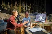 Director/Writer Henry Selick and Travis Knight on the set of