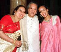 Ravi Shankar, wife and his daughter at the Praemium Imperiale Awards.