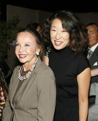 Leslie Caron and Sandra Oh at the 59th Annual Primetime Emmy Awards.