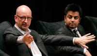 Steven Soderbergh and Ashwin Navin at the panel discussion at the Motion Picture Association of Americas (MPAA) first-of-its-kind symposium