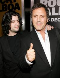 Sage Stallone and his brother Frank Stallone at the premiere of