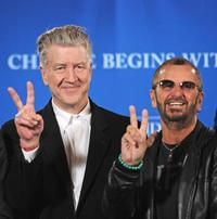 David Lynch and Ringo Starr at the press conference at Radio City Music Hall in New York.