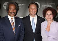 Allen Toussaint, John Edwards and Karen Sherry at the World Hunger Year's Chapin Award Dinner honoring Elvis Costello and John Edwards.