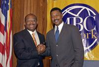 Robert Townsend and Willie Gary at the MBC Network news briefing.