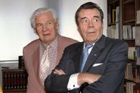 Peter Ustinov and Sir Dirk Bogarde at the French Institute, attend a reception.