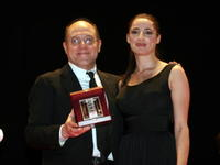 Carlo Verdone and Luisa Ranieri at the Italian Movie Awards.