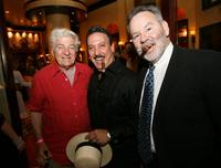 Seymour Cassel, Carlos Fuente Jr. and Wayne Suarez at the Casa Fuente cigar party in honor of Dennis Hopper's birthday.