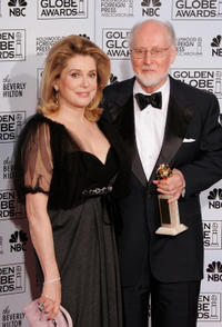 Catherine Deneuve and John Williams at the 63rd Annual Golden Globe Awards in California.