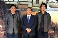 Tony Leung, director John Woo and Kaneshiro Takeshi at the press conference of