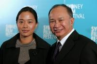 Angeles Woo and John Woo at the Australian premiere of
