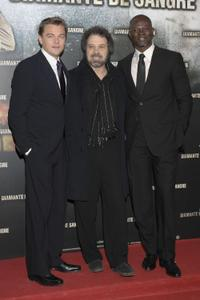 Leonardo DiCaprio, Edward Zwick and Djimon Hounsou at the premiere of