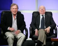 Dick Cavett and Tim Conway at the PBS portion of the Television Critics Association Press Tour.