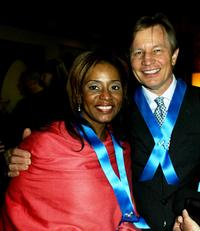 Donzaleigh Abernathy and Michael York at the Global Vison for Peace launch of Artists for the United Nations.