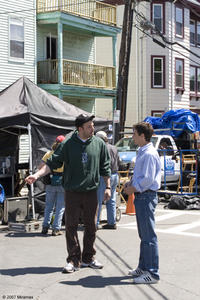 Director Ben Affleck and Casey Affleck on the set of