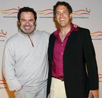 Dennis Miller and David Glickman at the Michael J. Fox Foundation for Parkinson's Research Summer Lawn Party.