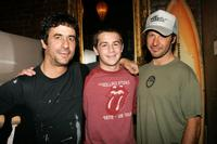 Andy Kessler, Michael Angarano and Tony Alva at the opening of