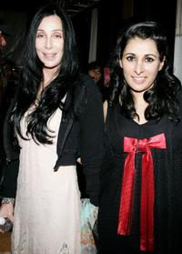 Cher with designer Serena Rees at the Agent Provocateur Fall 2006 show during Mercedes-Benz Fashion Week.
