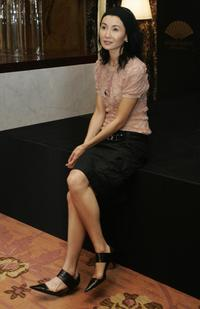 Maggie Cheung at the ribbon-cutting ceremony on the occassion of the re-opening of the Mandarin Oriental hotel.