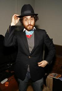 Sean Lennon at the cocktail reception after the performance of Rachel Fuller's