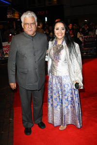 Om Puri and Ila Arun at the after party of the premiere of