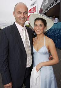 Steve Bastoni and his friend at the AAMI Victoria Derby Day.