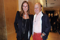 Valeria Cavalli and Massimo Boldi at the Roberto Cavalli Boutique during the VOGUE Fashion's Night Out in Italy.