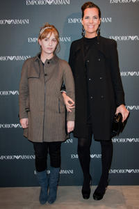 Lolita Chammah and Roberta Armani at the Emporio Armani store opening in Paris.