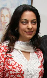 Juhi Chawla at the opening of an exhibition in Mumbai.