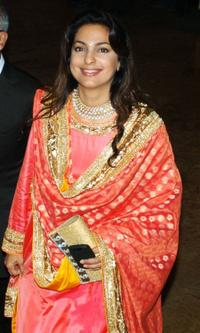 Juhi Chawla at the Raj Kundra and Shilpa Shetty's wedding reception in Mumbai.