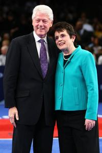 Bill Clinton and Billie Jean King at the BNP Paribas Showdown for the Billie Jean Cup.