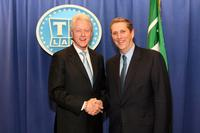 Bill Clinton and Doug Herzog at the TV Land Upfront Presentation.