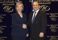 Hillary Rodham Clinton and Ehud Barak at the meeting in Jerusalem.