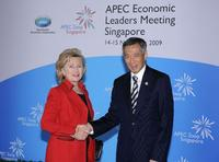 Hillary Rodham Clinton and Lee Hsien Loong at the APEC Leaders Summit.
