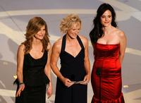 Glenn Close, Kyra Sedgwick and Mary-Louise Parker at the 59th Annual Primetime Emmy Awards present the Outstanding Made for Television Movie onstage.
