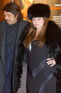 Serena Grandi and her friend Arnaldo at the premiere of
