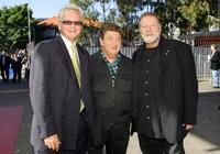 Iva Davies, Jonathan Coleman and Jack Thompson at the 30th Anniversary Golden Stave Rock 'n Roll Musical Extravaganza charity lunch.