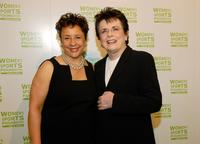 Sheila Johnson and Billie Jean King at the International Women's Sports Hall of Fame inductions.