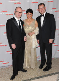 Simon Collins, Sheila Johnson and Joel Towers at the 2011 Parsons Fashion Benefit Pier 60 in New York.