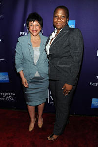Sheila Johnson and Women's Media Center President Jehmu Greene at the New York premiere of